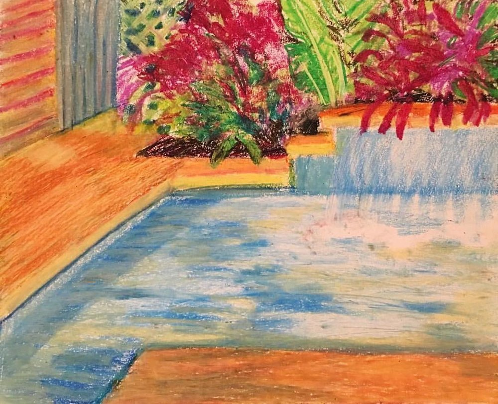 "Secret Pool, Oil Pastel on Paper, 14""x17"""
