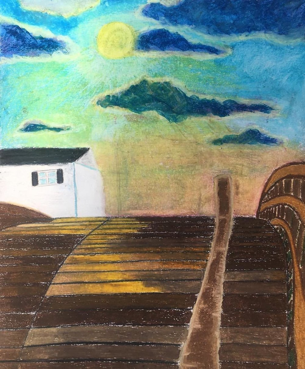 "The Bridge Home, Oil Pastel on Paper, 14""x17"""