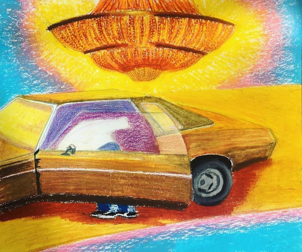 "Pit Stop, Oil Pastel on Paper, 14""x17"""
