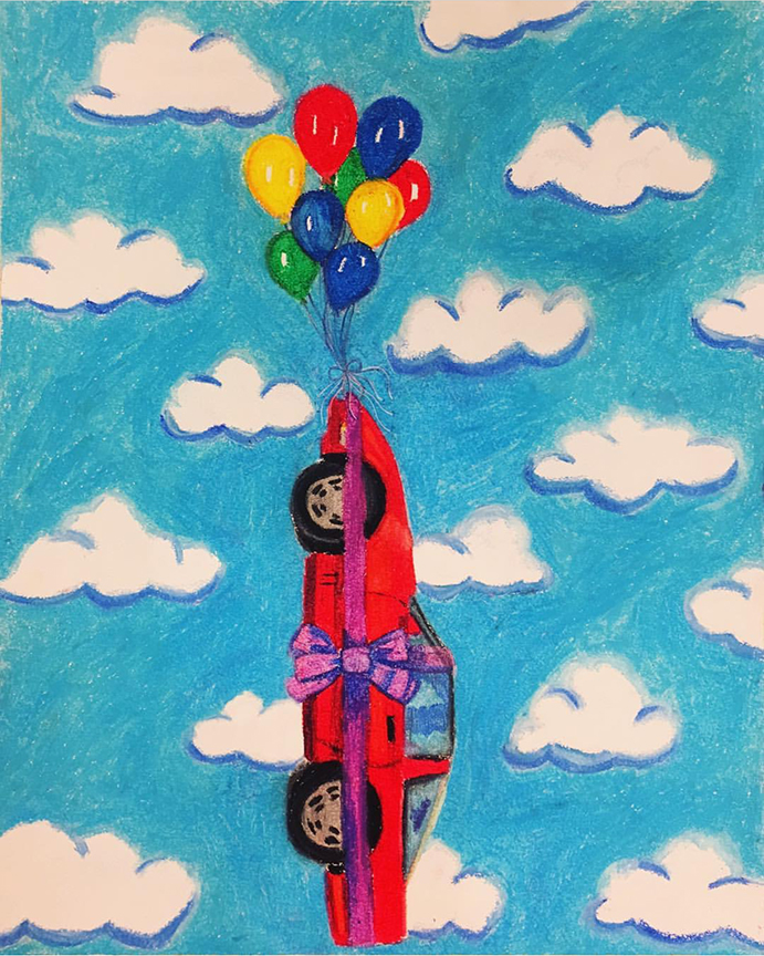 "Heaven bound by Balloon, Irrational Hope, Oil Pastel on Paper, 14""x17"""