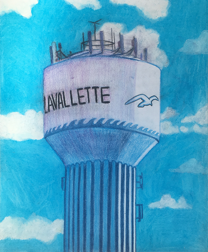 "Favorite Water Tower, Oil Pastel and colored pencil on Paper, 14""x17"""
