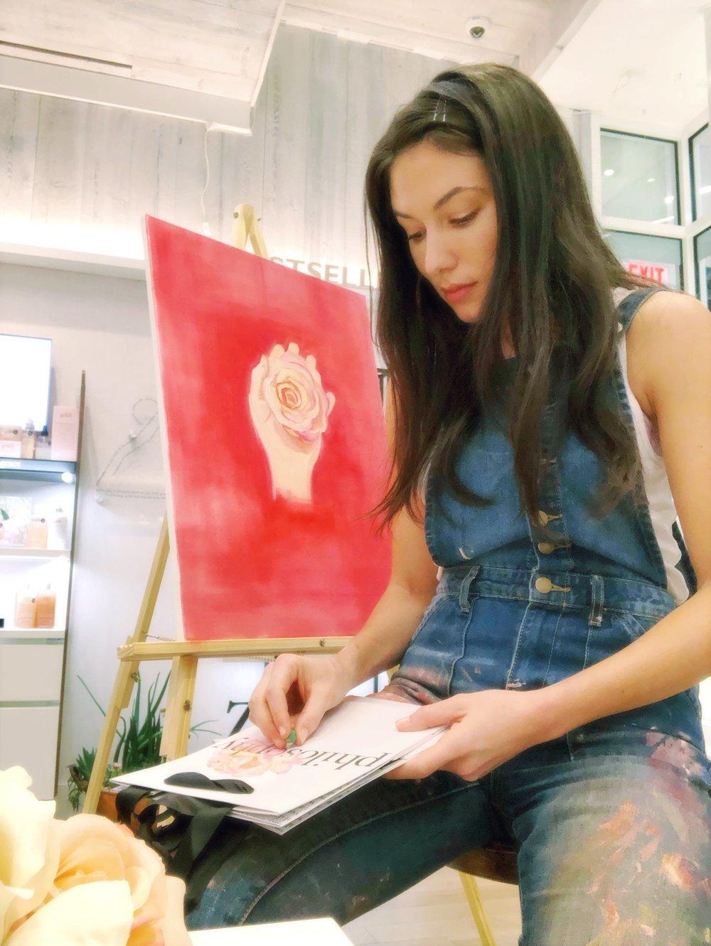katrina-eugenia-philosophy-skincare-love-philosophy-amazing-grace-amazing-grace-ballet-rose-live-painting-oil-painting05.JPG