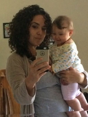 "I'll be transparent, in this photo I'm trying to look fierce but inside my head I'm thinking, ""How am I going to climb out of this depression?"" Oh yeah, and my daughter is hecka cute!!"