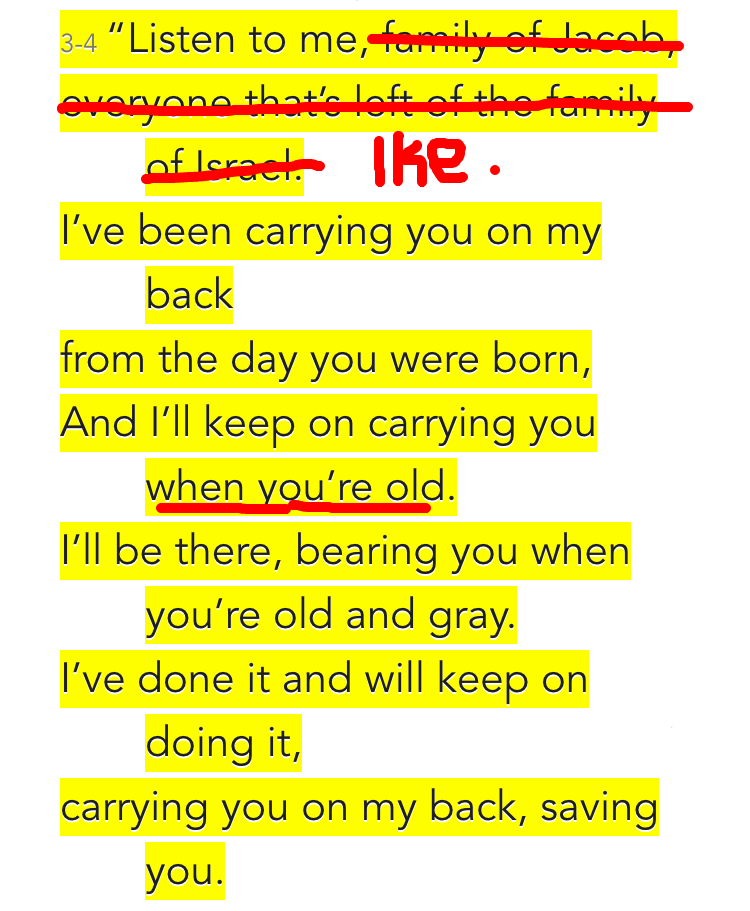 Isaiah 46:3-4 (MSG)
