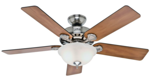 Hunter 52-inch Brushed Nickel Ceiling Fan w/Five Chestnut/Blackened Rosewood Blades & Glass Bowl Light Kit