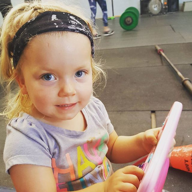 Coach every working on programming for the next cycle. Talk to her if your legs hurt next month. # crossfit #crossfitsarasota #crossfitkids
