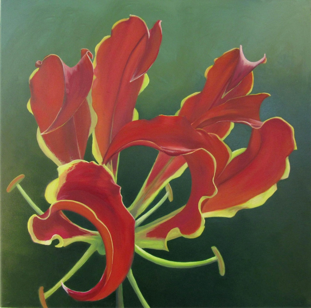 "Gloriosa Bloom  oil on canvass; 36"" x 36""; 2011  sold"