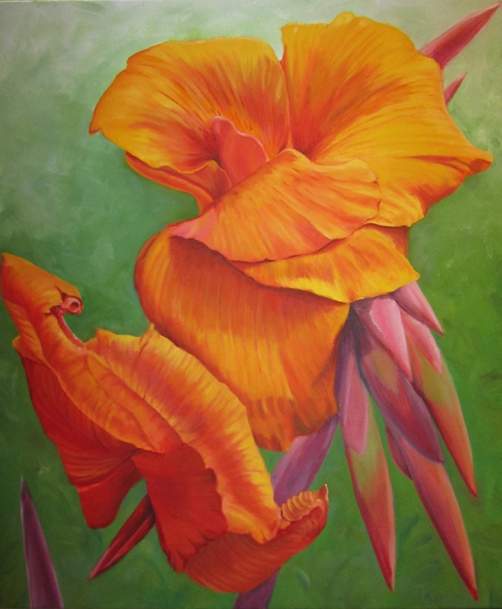 "Orange Canna  oil on canvass; 30"" x 24""; 2016  $300.00"