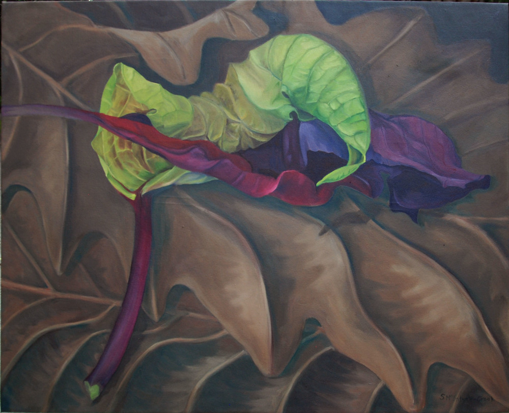 Poinsettia's Embrace II  oil on canvass; 29 x 36; 2015  $600.00   Drying, shriveling green leaf and red bract, curl in an embrace on a bed of dried oak leaves.