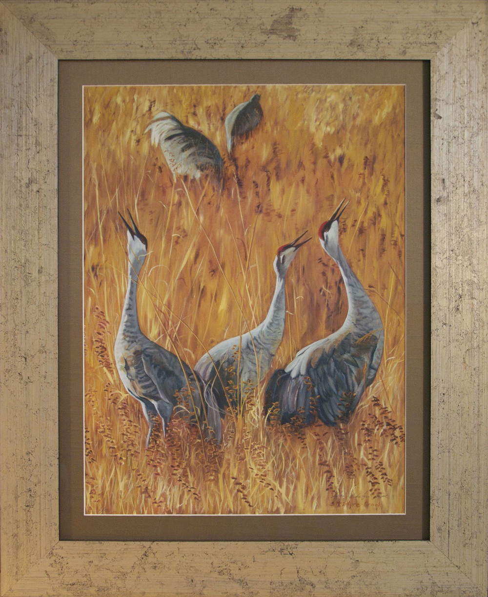 "Print: Sandhill Cranes Calling #5 of 50 limited edition  24"" x 18"" on frame: 29"" x 34.5""  Ultrachrome HDR ink; from original oil on canvass 'Sandhill Cranes Calling'; 48""x 36""  sold"