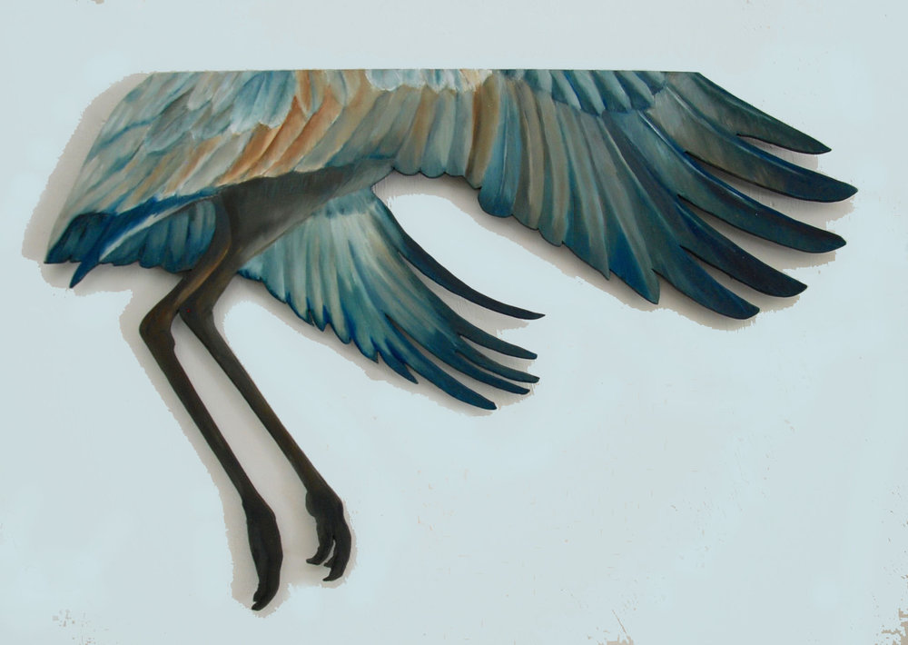 "Sandhill Cut-Out #10  oil on 1/4"" plywood  $360.00"