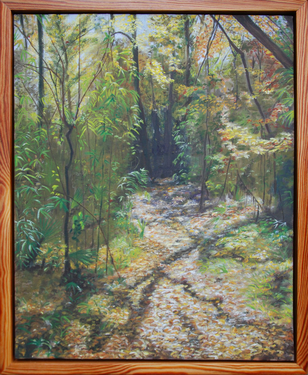"An Autumn Walk Through San Felasco Hammock #1 of 6.  oil on canvas, 22 x 18""; 2010  sold"