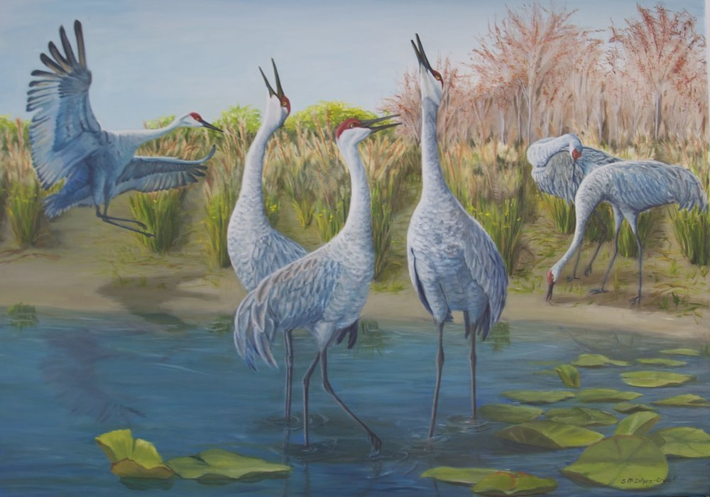 "Jasmeet's Sandhill Family;  oil on canvas; 30"" x 40""; 2014; commission"