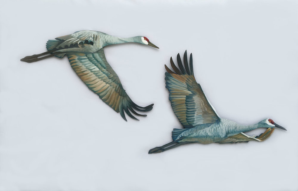 "Sandhill Crane Cut-Outs #20R & 19R  indoor/outdoor; acrylic on 1/4"" marine grade plywood; 20R: 20""x32""; 19R: 24""x32""; 2017  360.00 each"