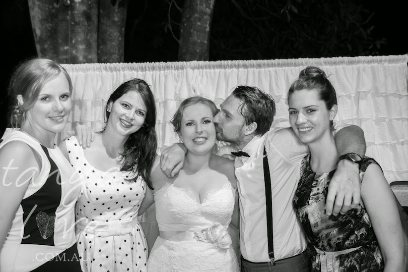 My lovely Timor friends at our wedding - Mel, Em, Tim and Jen.