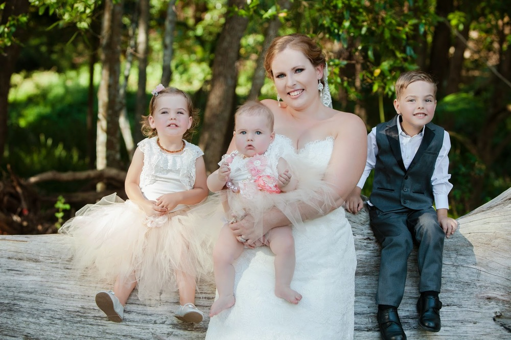 A fun photo with my sister's children at the wedding.