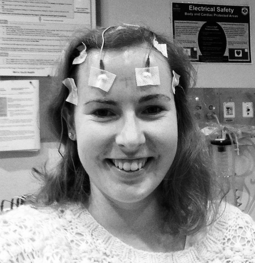 EEG time!! (I am normally not one to edit photos, but TRUST ME it was so necessary to have this in black and white!