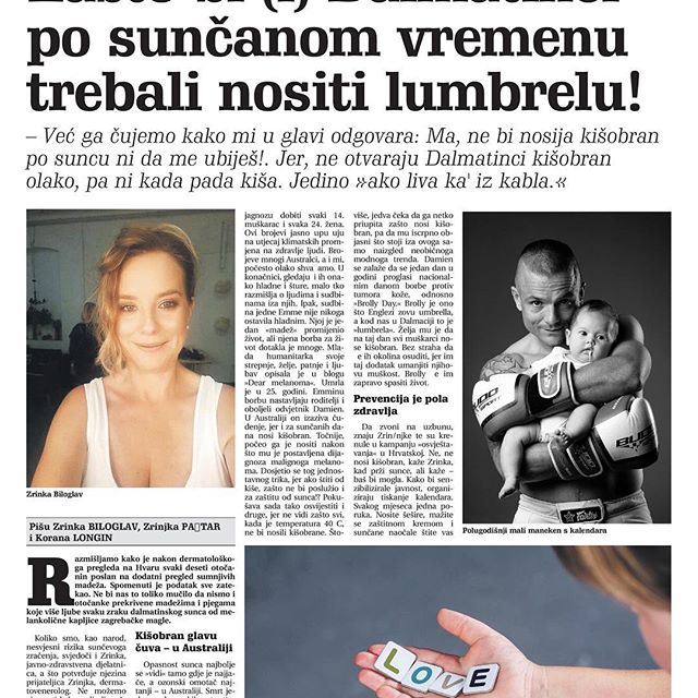 Recently we posted an article which appeared in a Japanese newspaper featuring Emma and her legacy.  A few days ago I received an email from Zrinka and Zrinjka, two Croatian Dermatologist and Epidemiologist and founders of the Croatian Melanoma Society. They wrote that Dear Melanoma had inspired them to launch a campaign dedicated to Emma and Damien Macrae (a fellow Australian melanoma awareness advocate) and many others worldwide affected by melanoma. The aim of the campaign is to produce a 2019 calendar.  How wonderful that Emma and Dear Melanoma, as well as Damien's dedication, has reached the other side of the world.  #loveemma #damienmacrae #melanomaawareness #dearmelanoma