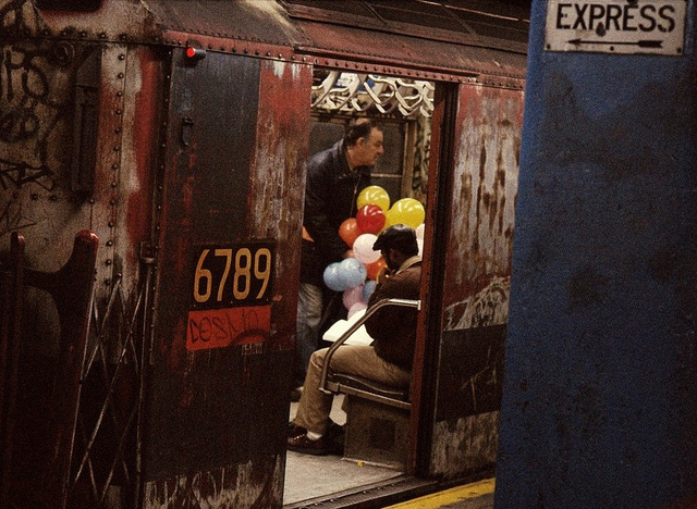 dyke-digest :      Yet more 1970s New York Subway fun as captured by my trusty Kodak Pocket Instamatic in April 1976. Burned out, graffiti covered MTA train in Midtown Manhattan. (and this was the Express train!)  by  wavz13  on Flickr.