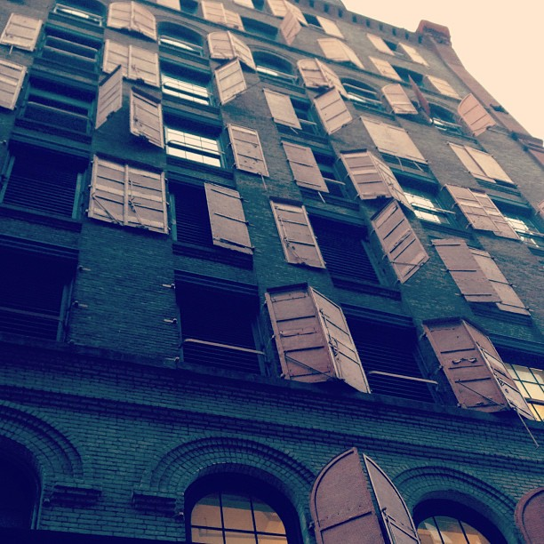 Metal shutters on the side of the Puck Building #nyc