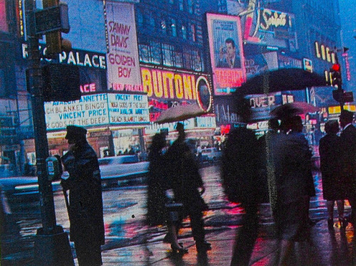 retronewyork :      1960s Times Square In Rain Photo 1966 New York State Vacationlands Brochure Vintage  by  Christian Montone  on Flickr.
