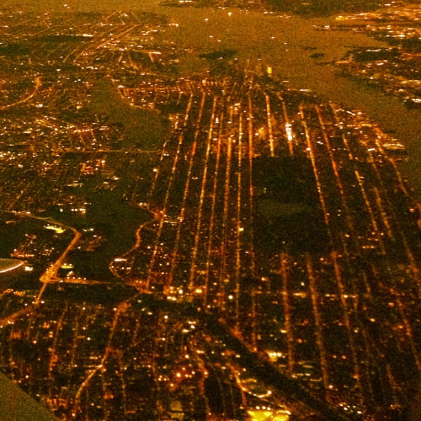 The curve and grid of Manhattan island.  (Taken with  Instagram )