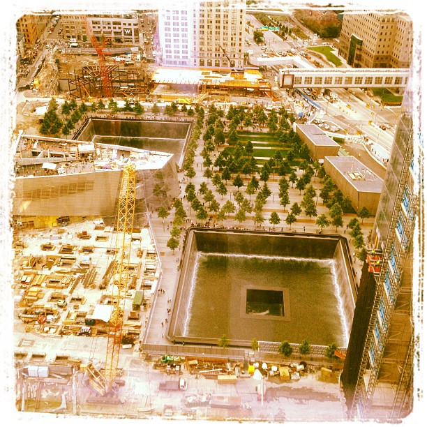 WTC memorial from 7 World Trade (Taken with  instagram )