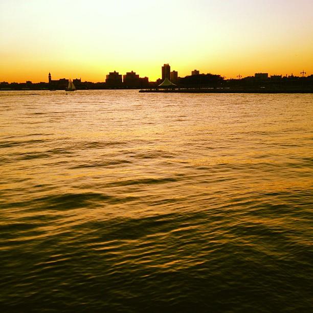 Sunset over the Hudson.  (Taken with  instagram )