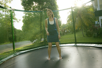 At week 6, naughty me, jumping on a trampoline during the photo-shoot, unaware of the shock we're gonna hear soon.