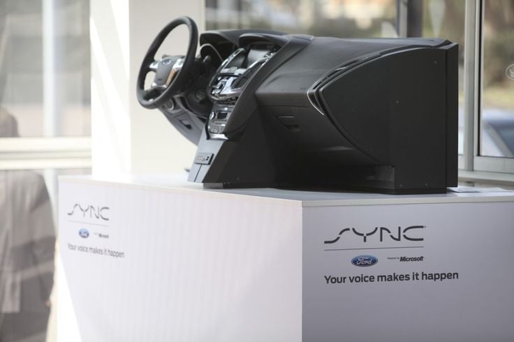 A model of Ford's voice activated in-car connectivity system, called SYNC.  Photograph by Chris Ratcliffe — Bloomberg via Getty Images