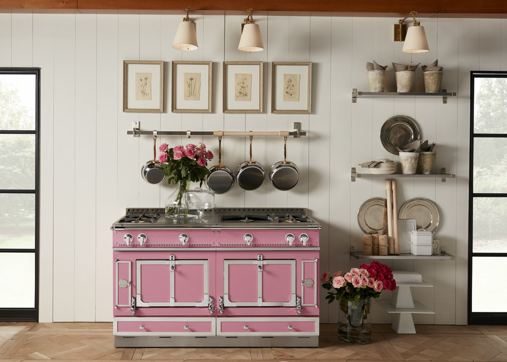 Shown: La Cornue unveiled its new Suzanne Kasler Couleur collection, featuring ten new hues, including Liberte pink shown here. The Atlanta-based AD100 interior designer drew inspiration for the line during visits to her favorite ribbon shop in Paris.