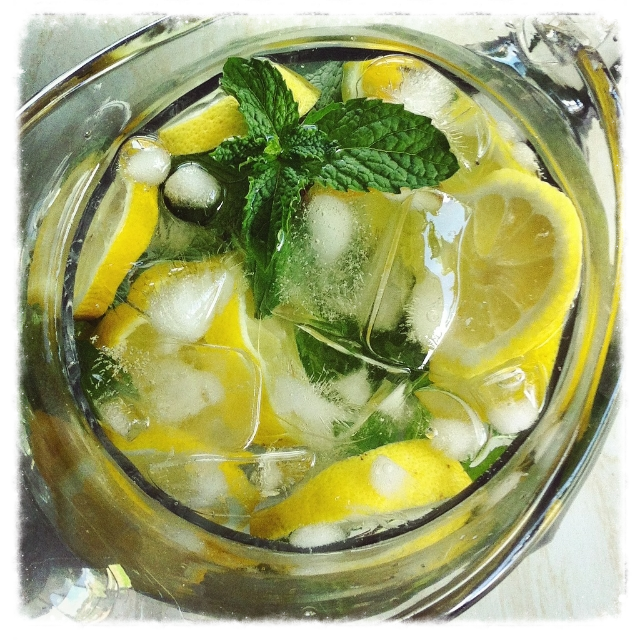 Water with lemons and mint.