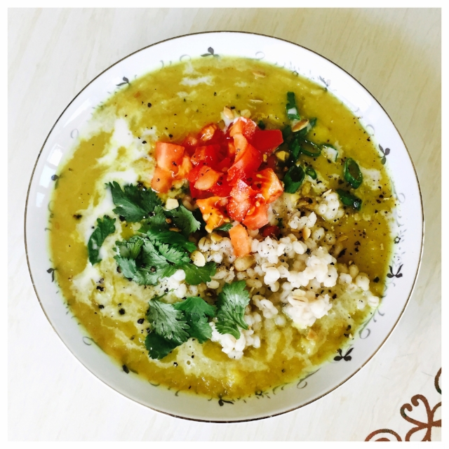 White Pumpkin Recipe 1: Curry pumpkin soup with barley, fresh tomatoes, scallions, cilantro and coconut milk.