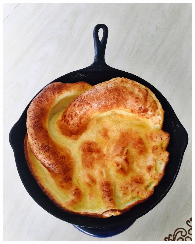 A naked Dutch Baby showcasing the ideal topography/terrain. Lots of buttery nooks and crannies to help catch all the toppings you want to pile on!