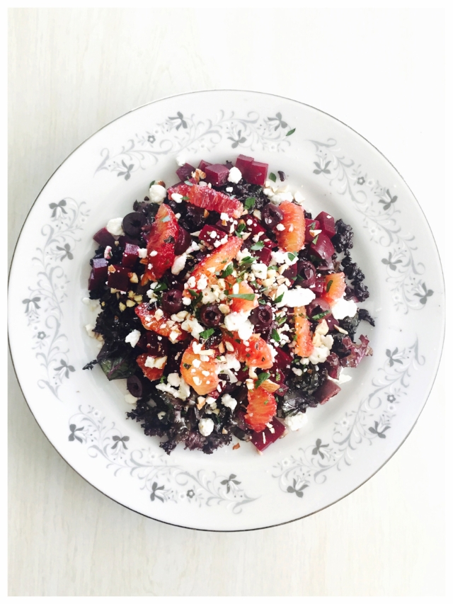 Halloween salad with black rice, purple kale, red beets, goat cheese and blood oranges… I call it The Black Widow!