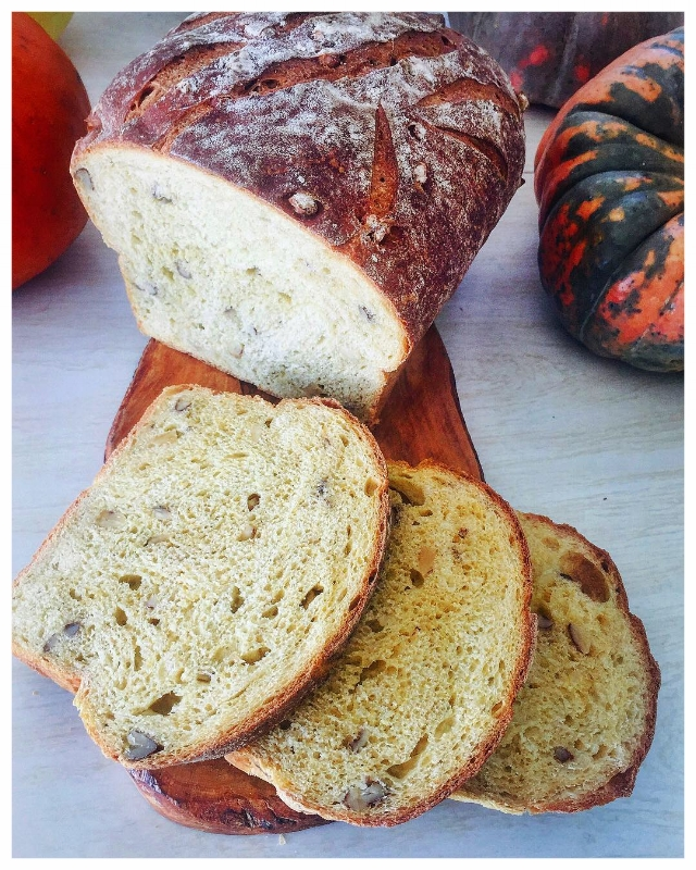 Freshly baked and sliced Squash + Maple + Walnut Loaf from the 2018 October launch of the Full Moon Baking Club.
