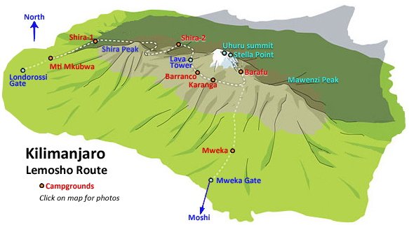 Diagram of Kilimanjaro Lemosho Route via Youth Adventures and Safaris