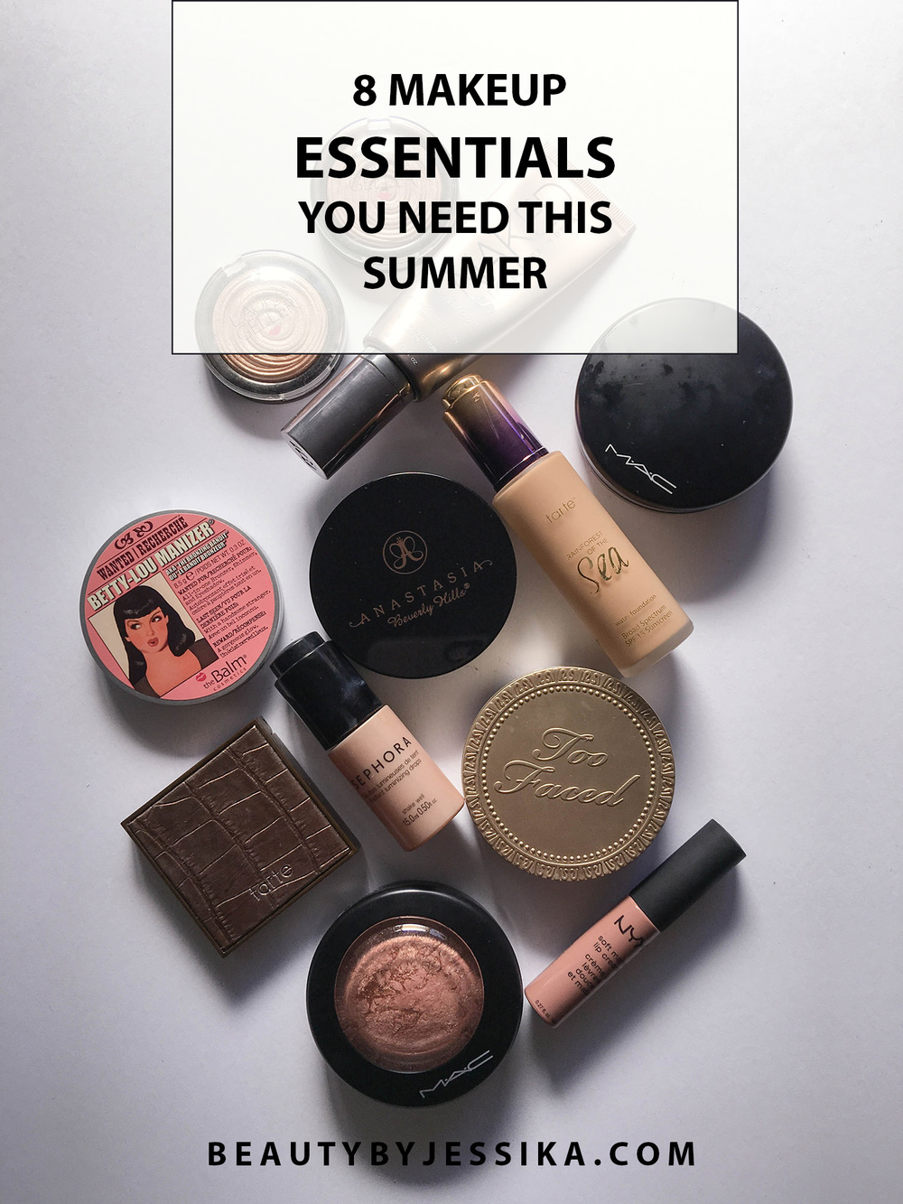 Don't let the summer heat keep you from slaying your makeup! Here are my 8 makeup essentials you need this summer. Read the full post at beautybyjessika.com.
