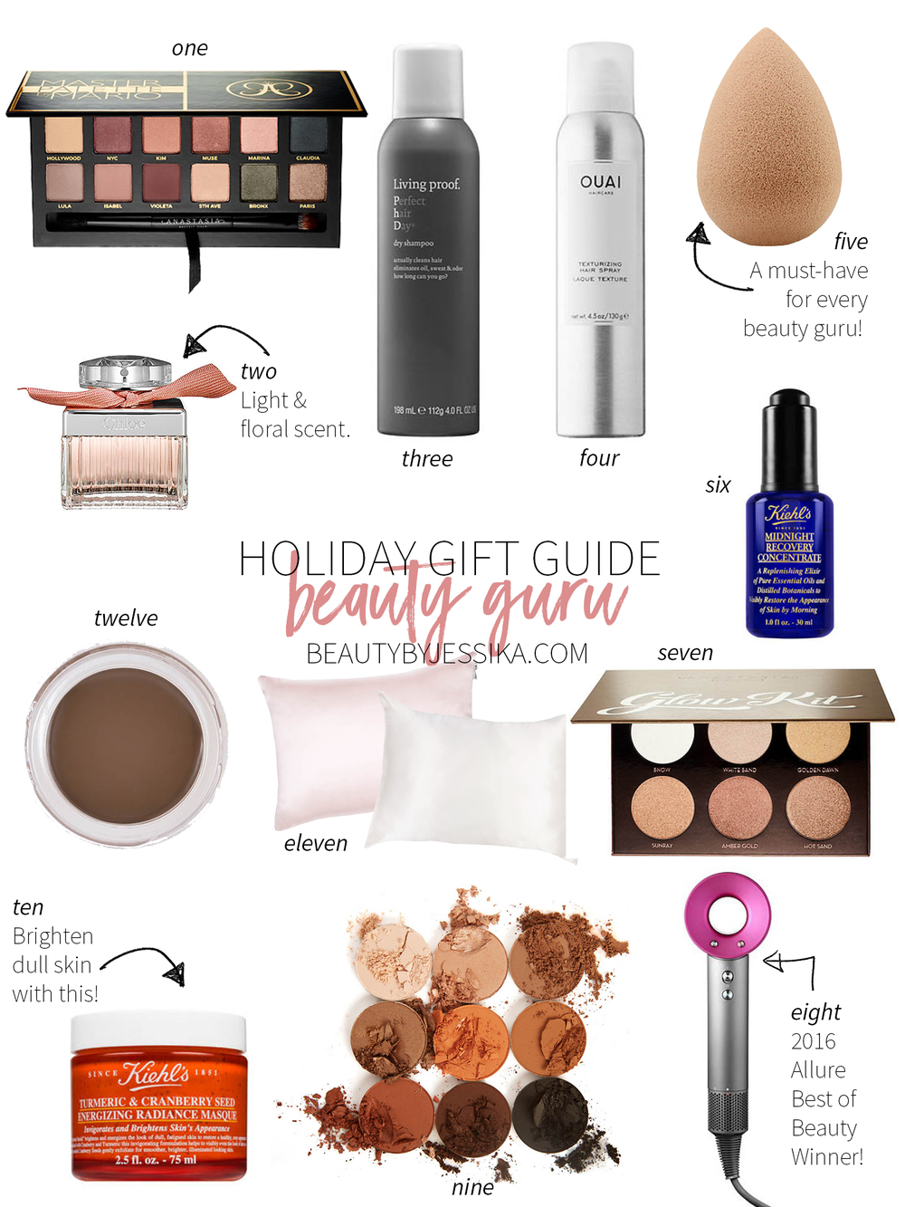 Cheers to Beauty by Jessika's first holiday gift guide of the season! Pretty much everything your beauty guru friends will love and/or need. More on beautybyjessika.com.