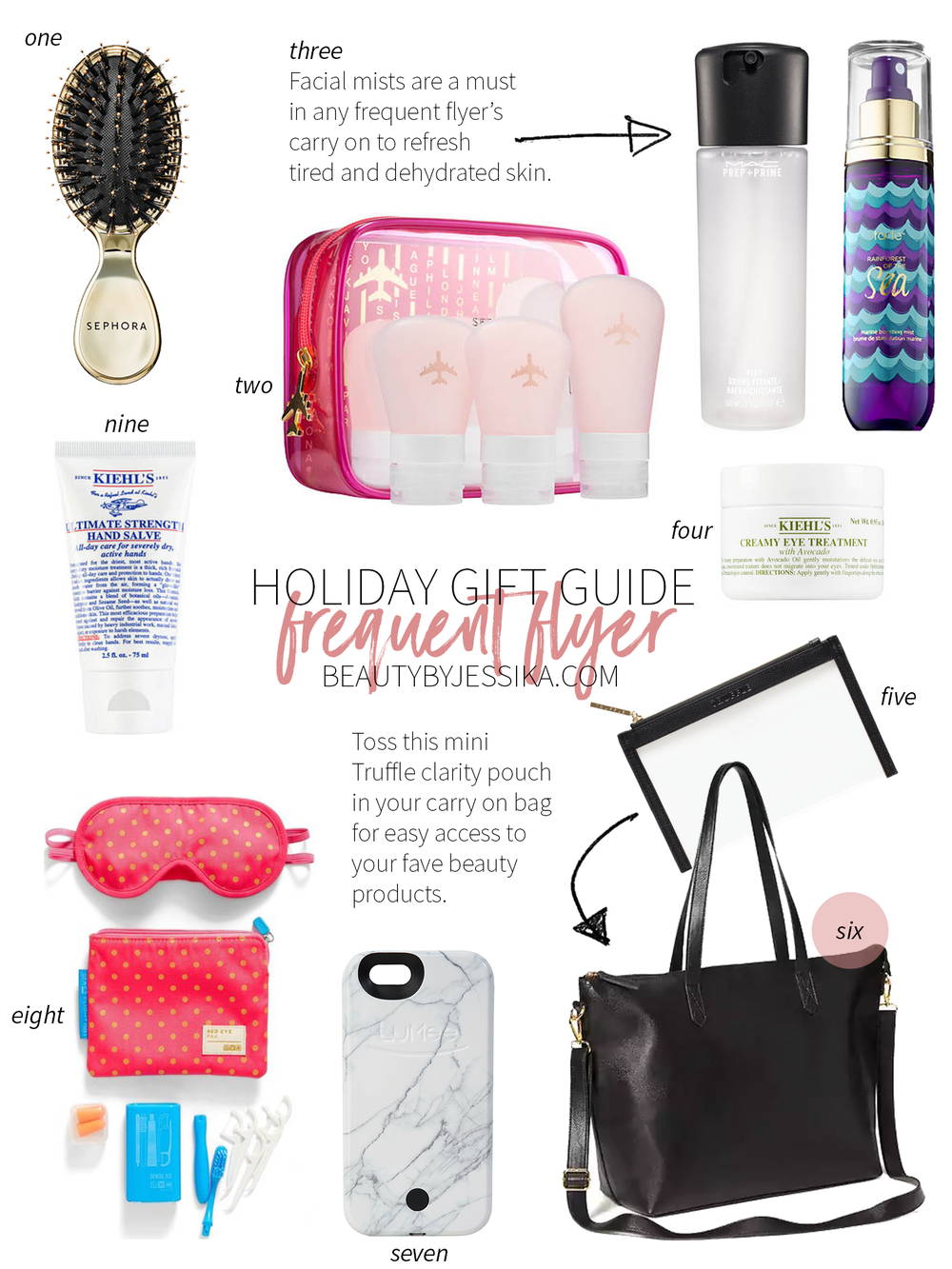 A holiday gift guide for all of our frequent flyer friends! Get the list on beautybyjessika.com.