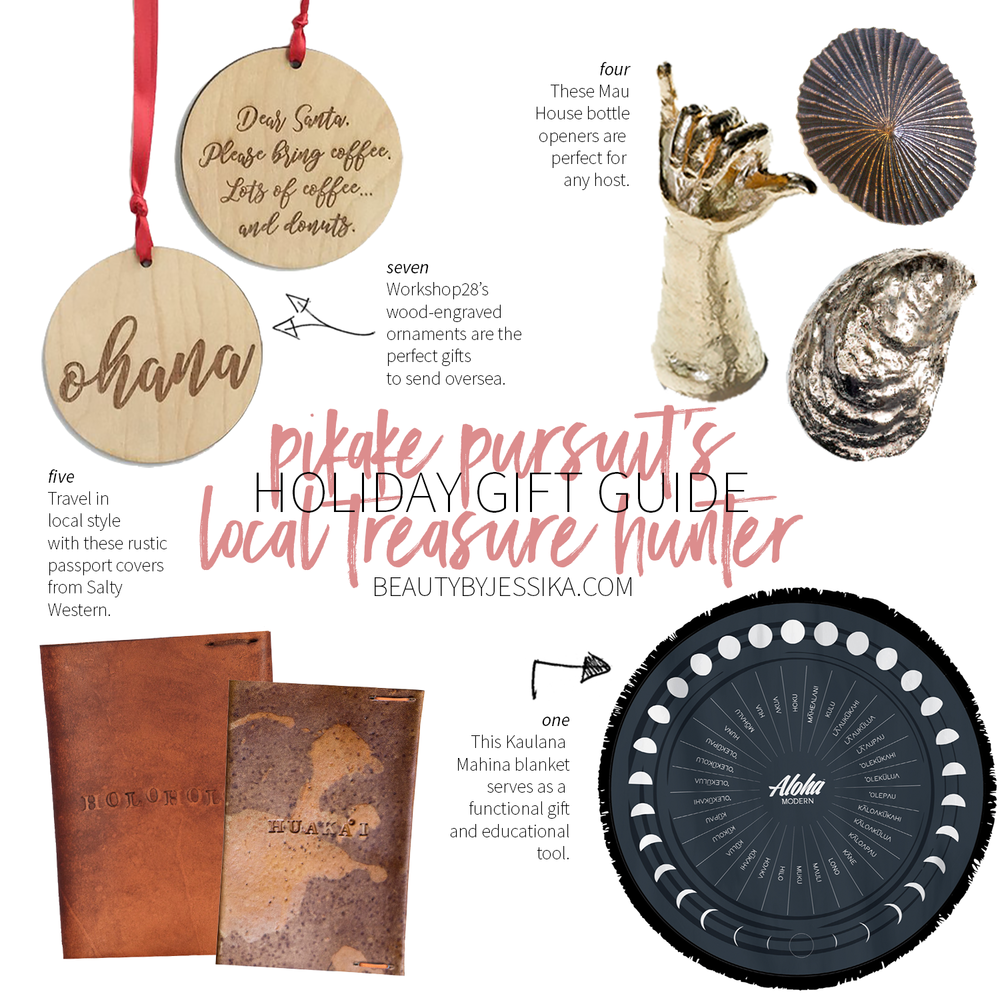 Today's holiday gift guide is dedicated to the local treasure hunter! Support Hawaii's local artists by gifting your family and friends with local treasures. Thanks to the ladies of Pikake Pursuit (IG: @PikakePursuit) for guest posting! See more on beautybyjessika.com.
