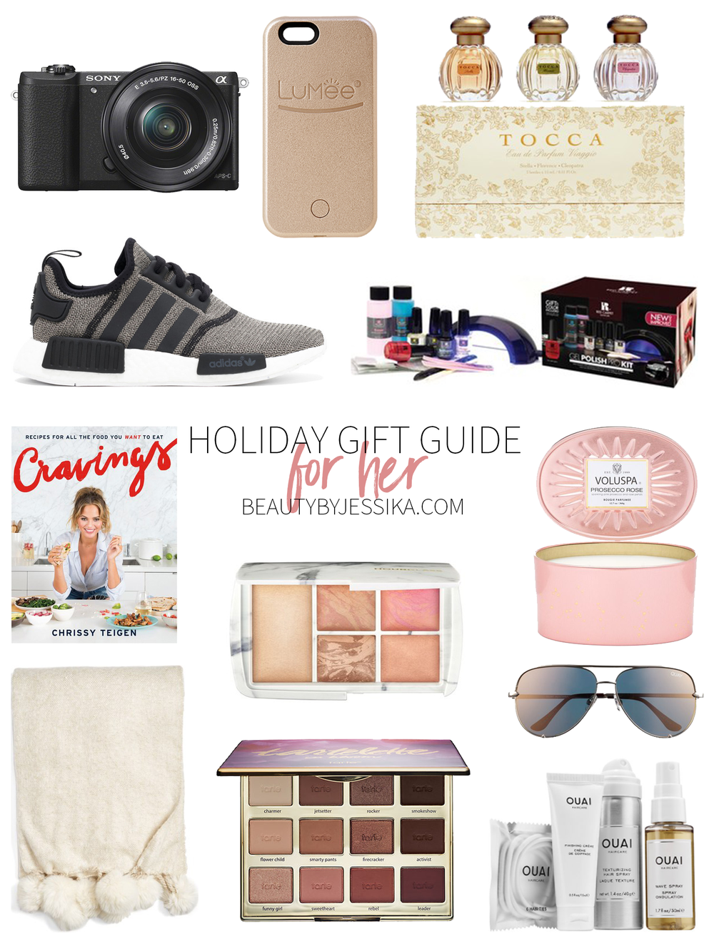 Today's gift guide is for all of the ladies in our lives. There's something for every girl on this list: for the athletic girl, the beauty guru, the cook, the home maker, the techie, and more! Visit beautybyjessika.com to see the full list.