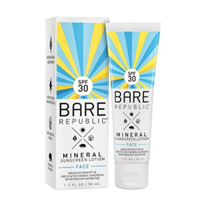 Bare Republic Mineral Sunscreen Face Lotion  - Sunscreen is the most essential beauty item you can pack in your travel bag. Protect your skin from premature wrinkles from the sun by applying it to your face every day.