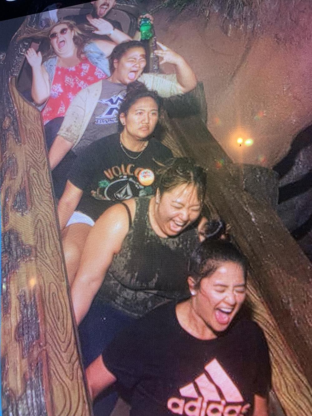 10/09/18 — The Garcia girls (first four seats) on Splash Mountain.