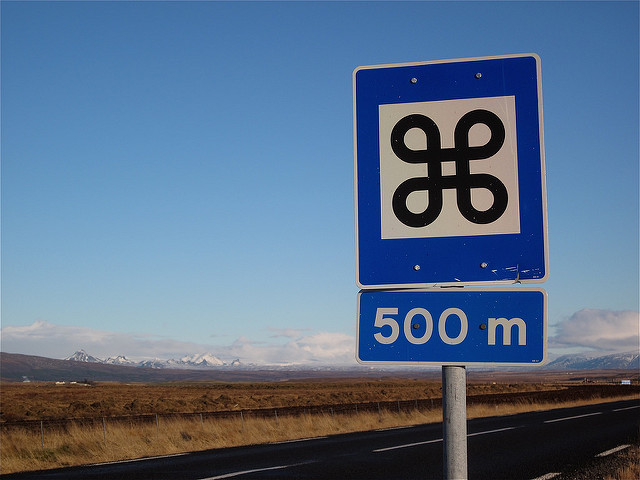 Road sign in Iceland with the symbol used on the Mac command key. Photo taken by Alan Levine on  flickr .