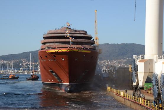 The Ritz-Carlton Yacht Collection (RCYC) celebrated the launching ceremony of its inaugural yacht on Thursday, Oct. 9, at the Hijos De J. Barreras Shipyard in Vigo, Spain. The ceremony marked a significant moment in the ship building process where after a ceremonial blessing, the yacht moved stern-first down the slipway and touched water for the first time.