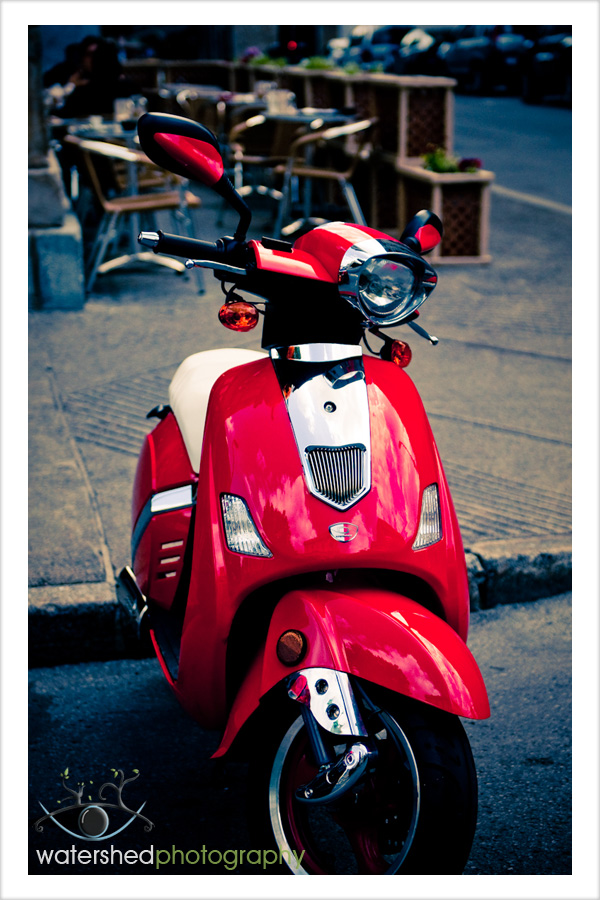 Red Scooter, Scene from a Montréal café, QC