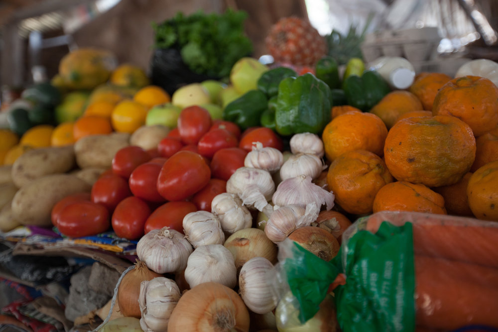 Fruits and vegetables on offer in Tofo, Mozambique. Photo by: Lauri Soini