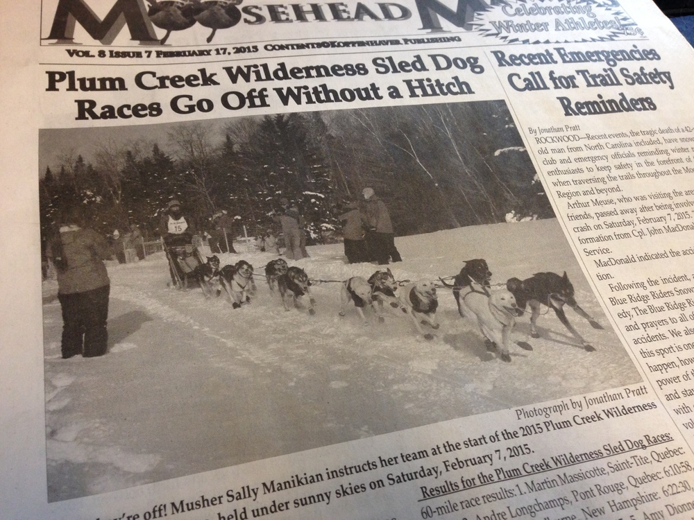 Making the cover of MOOsehead MAtters, local paper for the Wilderness race 2015.