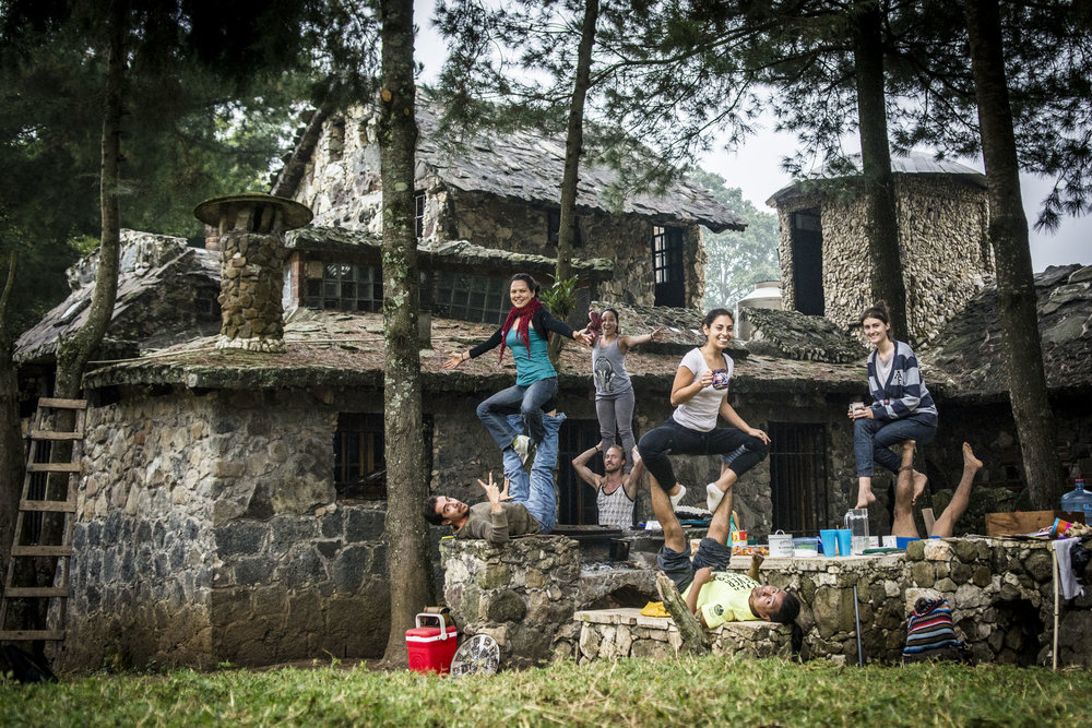 Preparing the 'Casa de Piedra' for the weekend's acroyoga-festival!